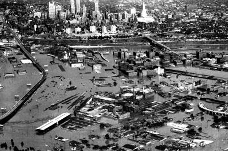 aerial photo of Kansas City during the flood