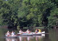 people in four canoes floating on the Niangua River