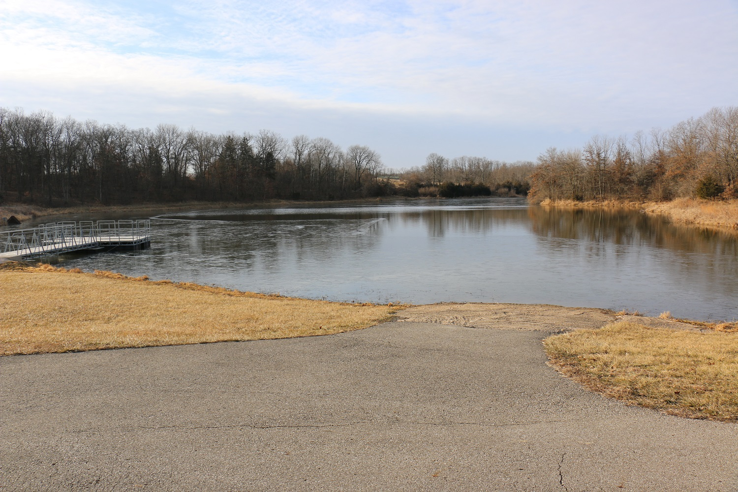 Boat ramp on the lake