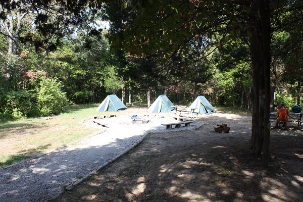 Tents set up near the group fire ring