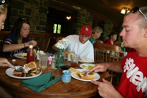 people eating inside the dining lodge