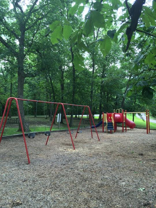 swingset and playground equipment with slides