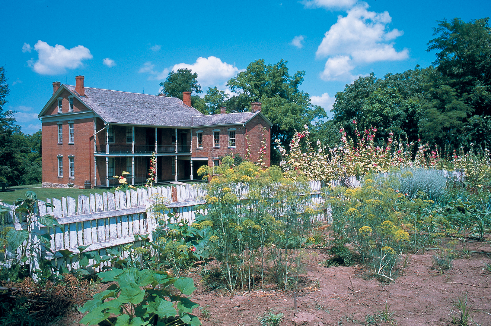 Exterior of the Anderson House with the garden in the foreground
