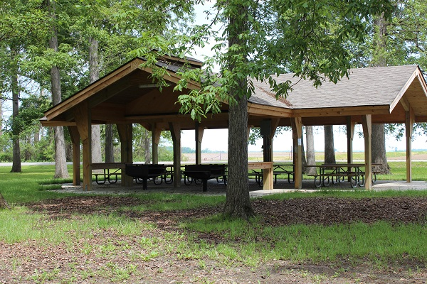 picnic shelter with two large grills