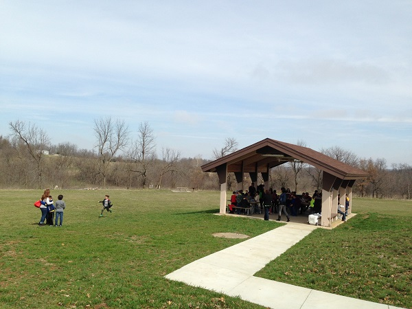 a group using the picnic shelter
