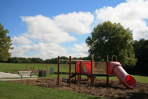 plagyground equipment with slides and a swing set