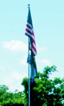 the American flag flying at the site