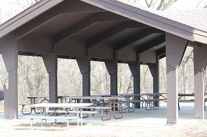 picnic tables under the picnic shelter