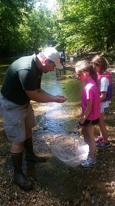 a park naturalist shows two kids some aquatic life in the stream
