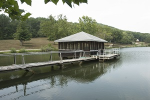 exterior of the boat house shelter on the lake