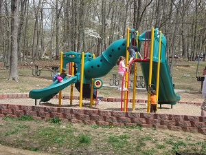 new playground equipment with various slides