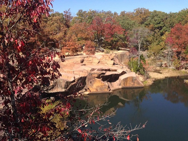 overlook of water with fall color