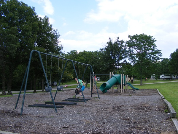 a swingset and slide
