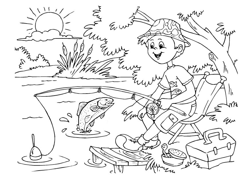 coloring page of boy fishing