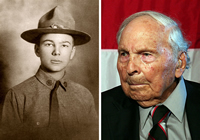 Photos of Frank Buckles as a young soldier and as an older man
