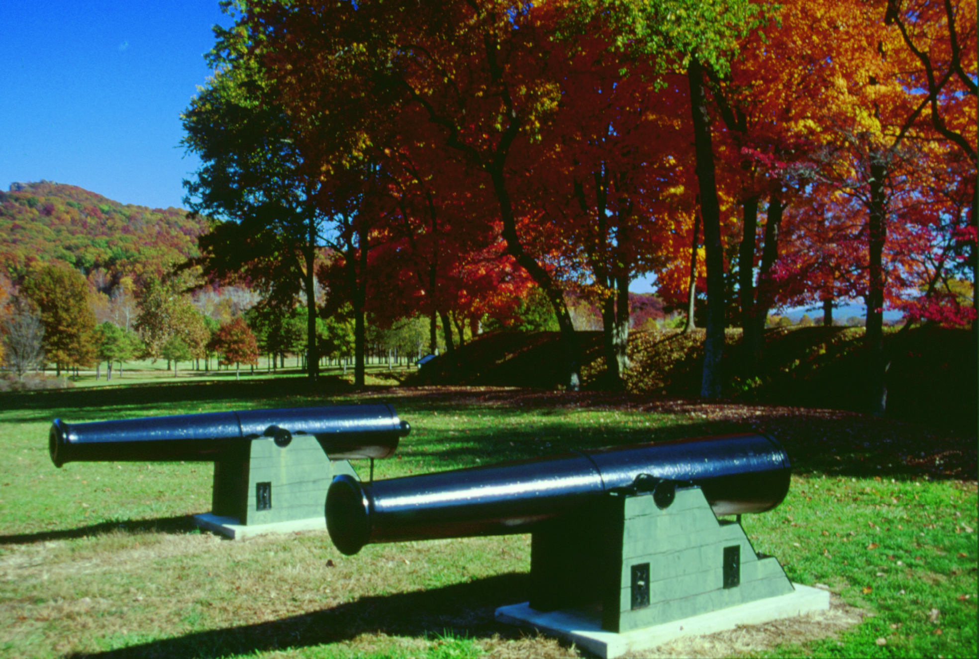 Two canons on display near the fort
