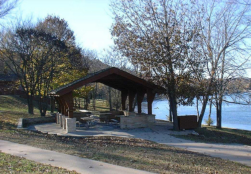 picnic shelter located next to the lake
