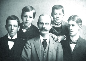 historic photo of the syder family with father and four sons