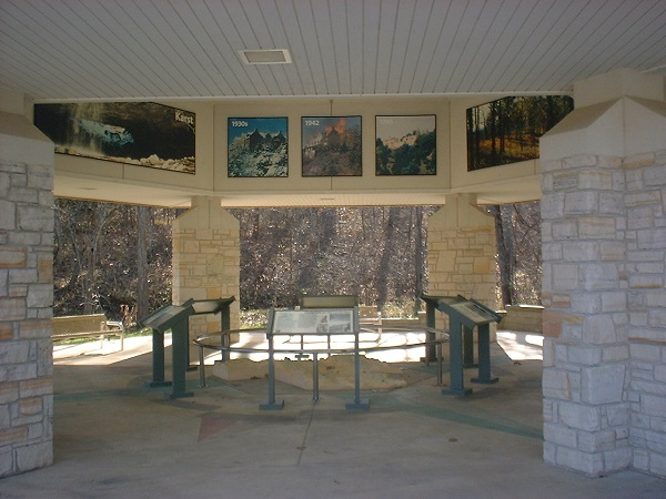 interpretive panels inside the outdoor visitor center