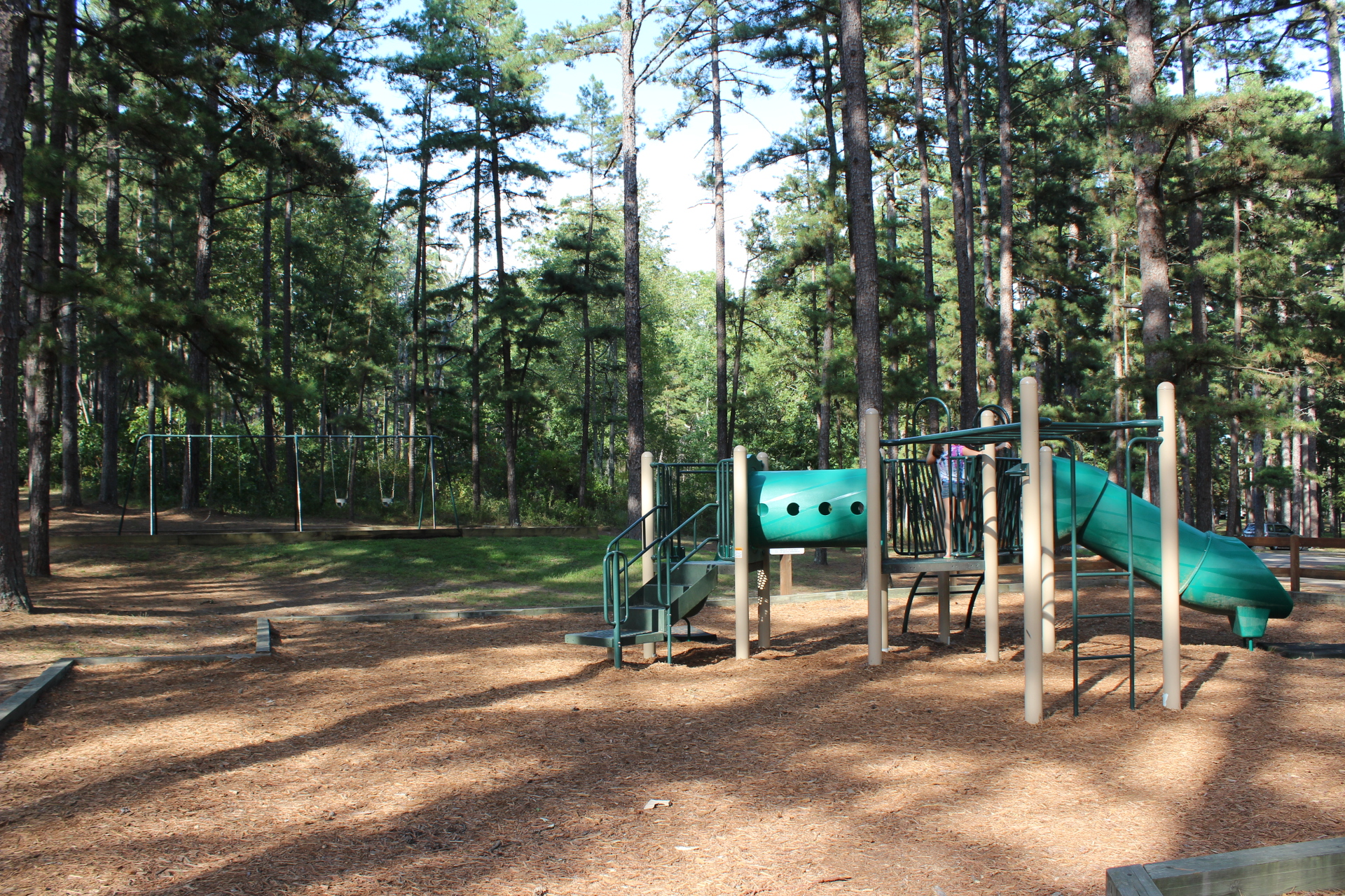 playground equipment with slide in a shaded setting