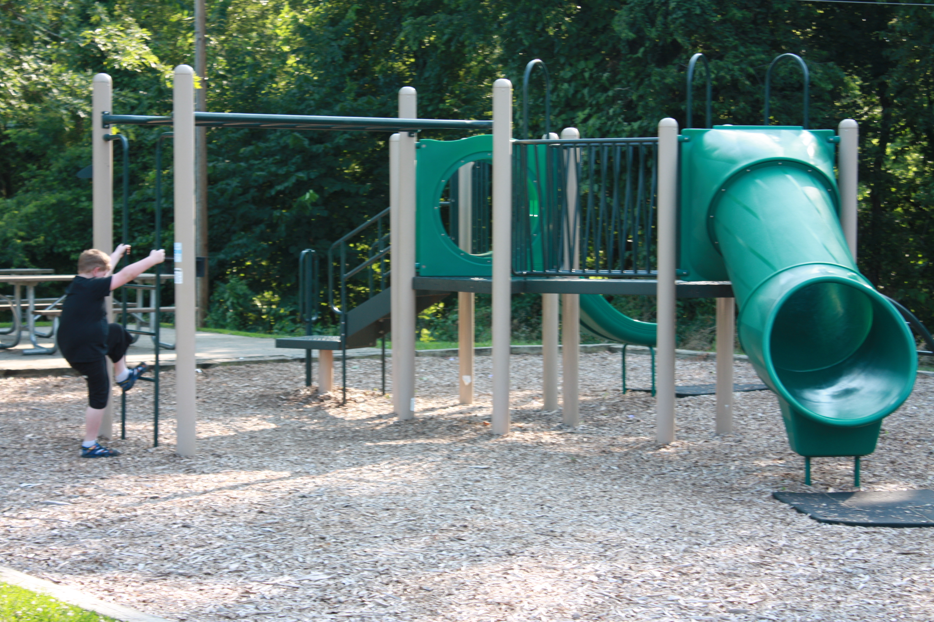 a kid climbing on the ladder of the playground structure, which includes monkey bars and a couple of slides