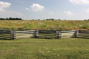 view of wooden fence and prairie landscape