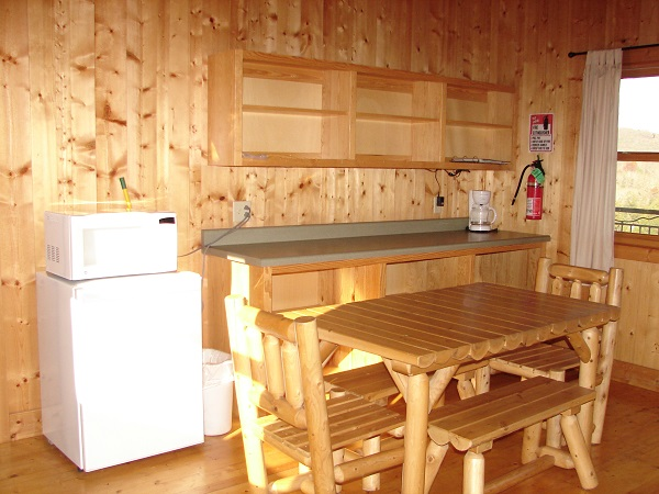 table, mini fridge and microwave in cabin
