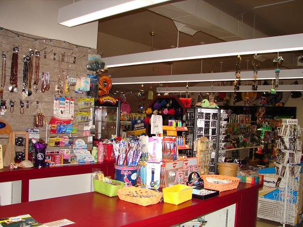displays of items inside the store