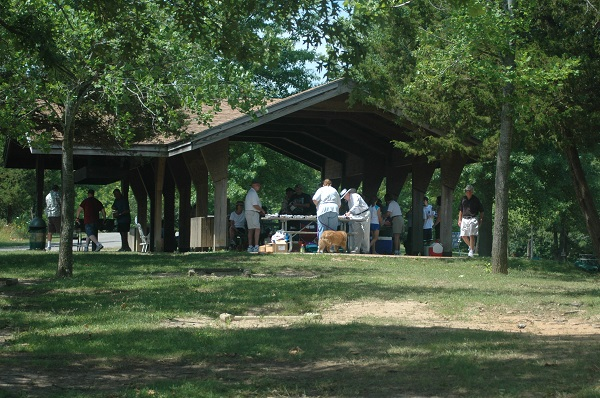 people using picnic shelter