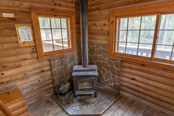 wood stove inside a cabin