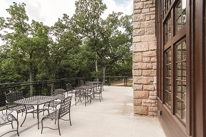 metal patio furniture outside of the lodge