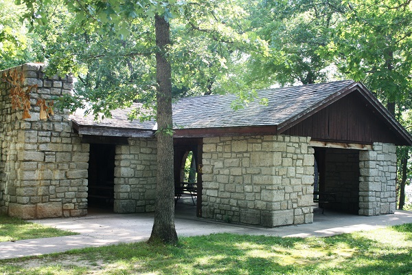 exterior of rock picnic shelter