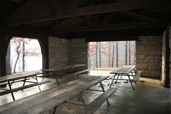 tables inside the picnic shelter