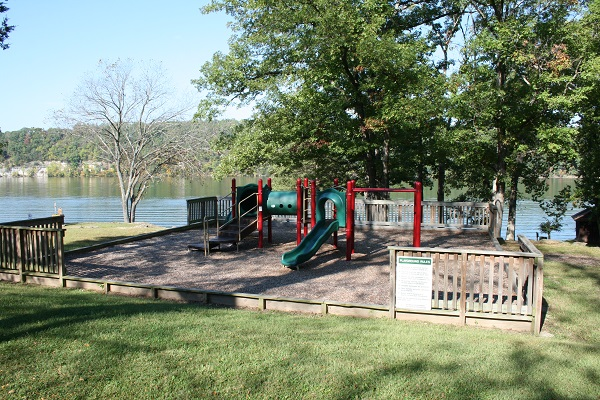 At Lake Of The Ozarks State Park Slide Playground Aparatus On A Raised Area Pea Gravel