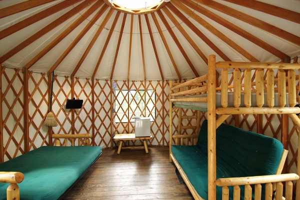 furon and bed inside the yurt