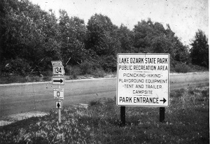 Old photo of a Lake Ozark State Park Public Recreation Area sign