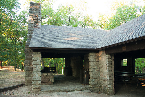 a stone picnic shelter built by the Civilian Conservation Corps