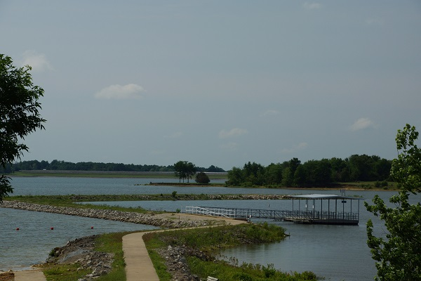 the sidewalk leading to the accessible fishing dock