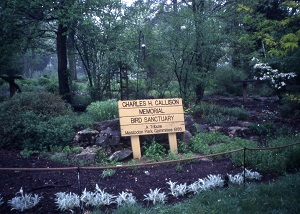 sign identifying the wildflower garden