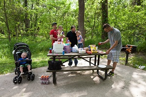 a family enjoying a picnic at one of the picnic sites