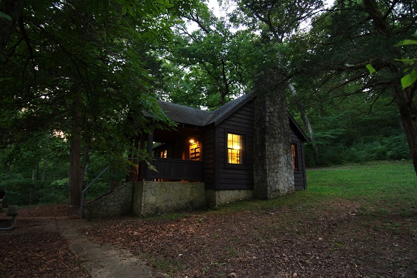 exterior of a cabin at dusk