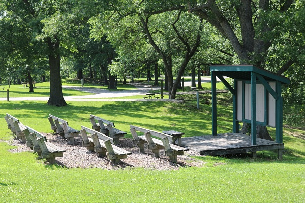 wooden benches and amphitheater stage