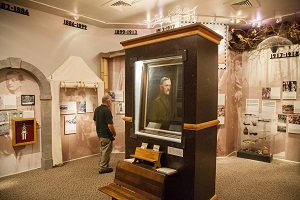 "exhibits inside the Prairie Mound School show the many ""doors"" Pershing walked through in his life"