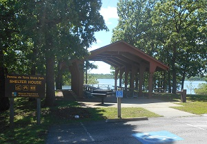 picnic shelter near the lake