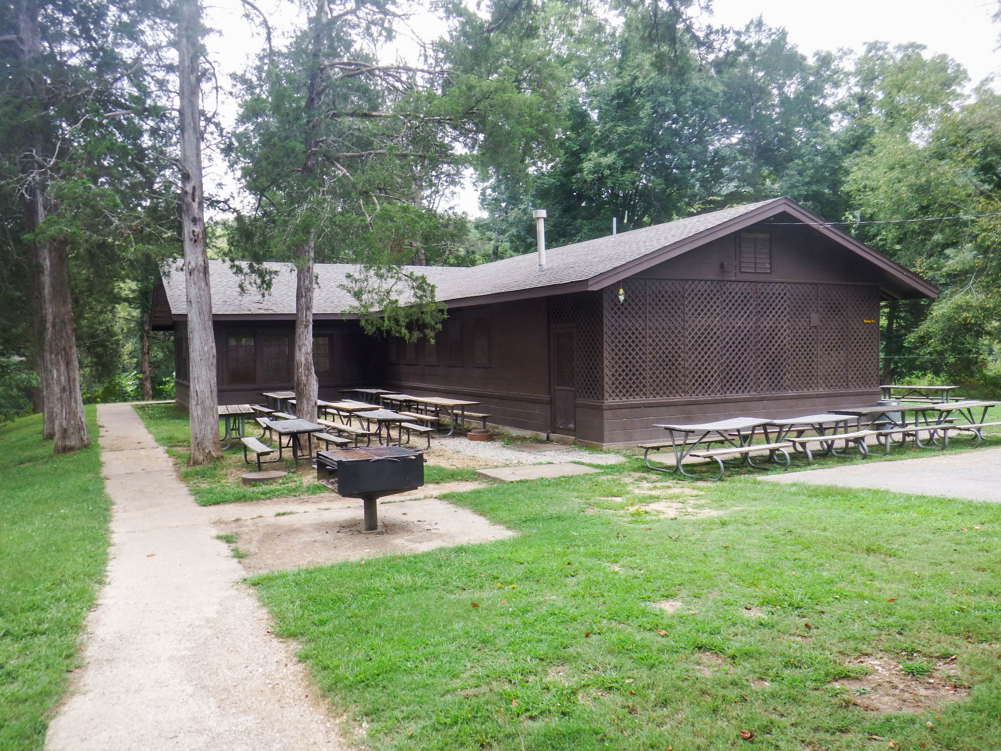 exterior of dining hall with outside grill