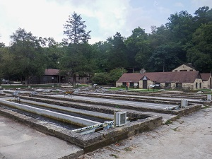 fish pools with hatchery building in the background