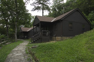 exterior and walkway to two cabins