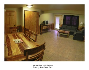 living and dinng room area inside a lodging unit
