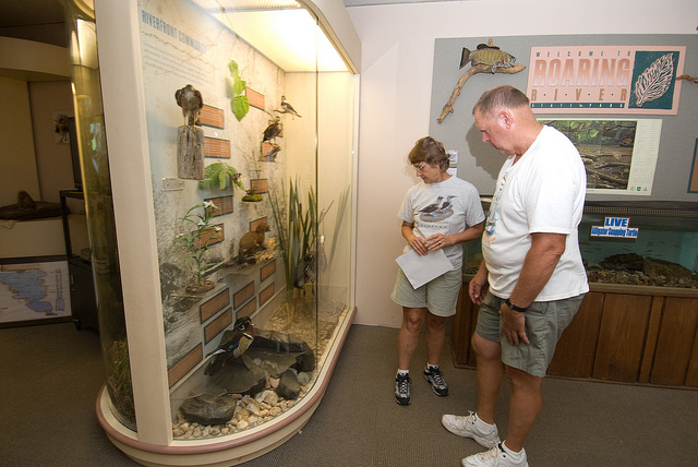 a couple looks at the exhibits inside the nature cener
