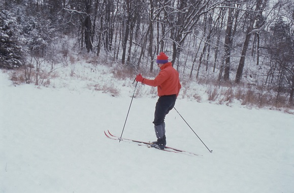 a man cross country skiing in the park